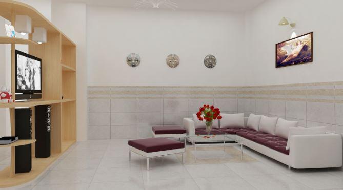 Chọn gạch ốp chân tường ăn gian diện tích cho phòng khách