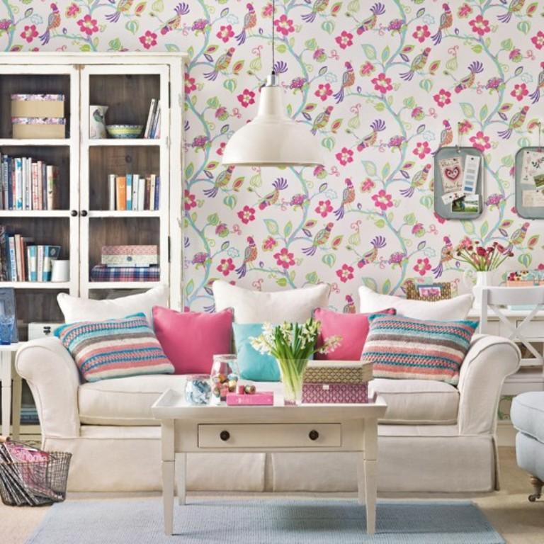 Giấy dán tường mùa xuân đem hương tết vào nhà