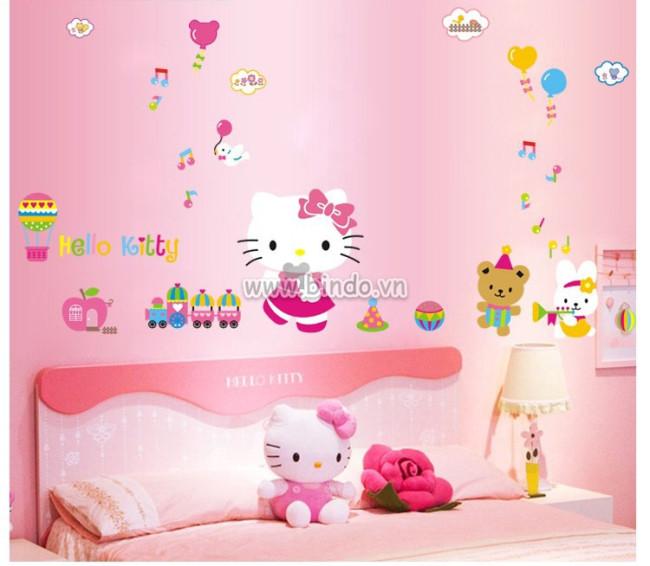 Mẫu giấy dán tường Hello Kitty đáng yêu cho bé gái