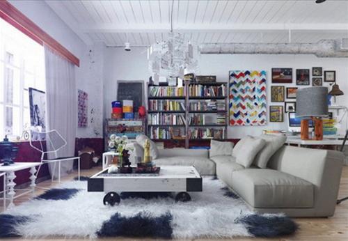 Phòng khách được thiết kế như một thư viện
