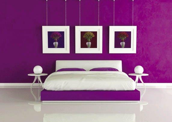Trang trí phòng ngủ với giấy dán tường sắc tím