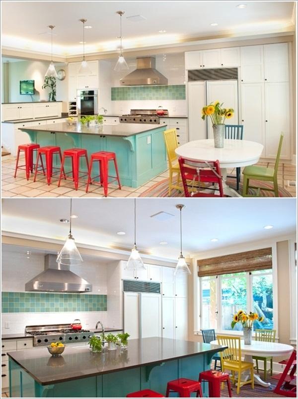 Các gam màu rực rỡ cho không gian bếp thêm vui vẻ