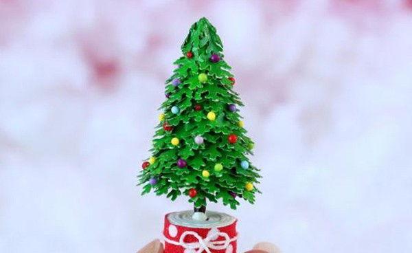 Cách làm cây thông Noel tí hon siêu đơn giản