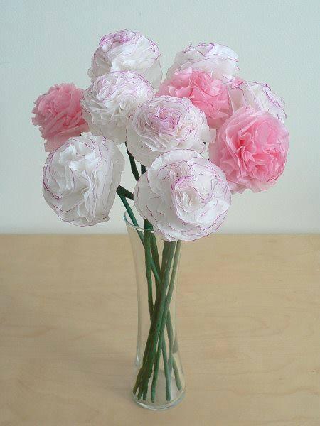 Hướng dẫn làm hoa hồng đơn giản đẹp từ giấy tissue