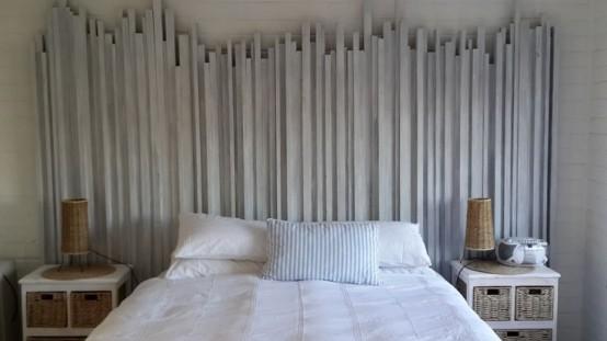 Làm đẹp và trang trí phòng ngủ với headboard được sơn trắng