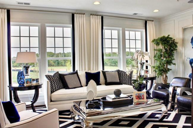 Mẫu thảm kẻ sọc đen trắng mang điều kỳ diệu cho phòng khách