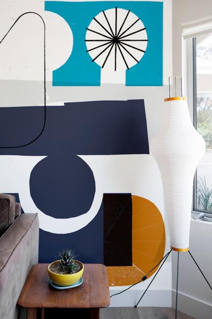 Trang trí tường bằng mẫu họa tiết hình học ấn tượng