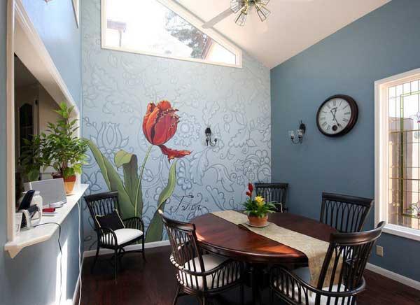 Ý tưởng trang trí phòng ăn với giấy dán tường 3d